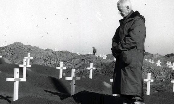 Major General O.P. Smith, USMC, 1st Marine Division Cemetery, Hungnam, 1950