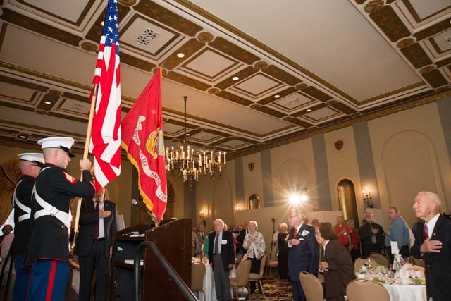 Posting the Colors. In right foreground, MajGen Mike Myatt, USMC (Ret.)
