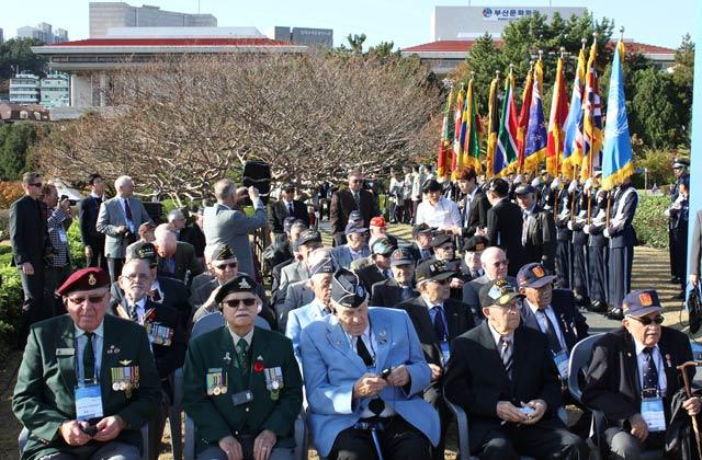 Korean War veterans from several nations at Veterans Day Ceremonies, UN Cemetery, Busan, 2015