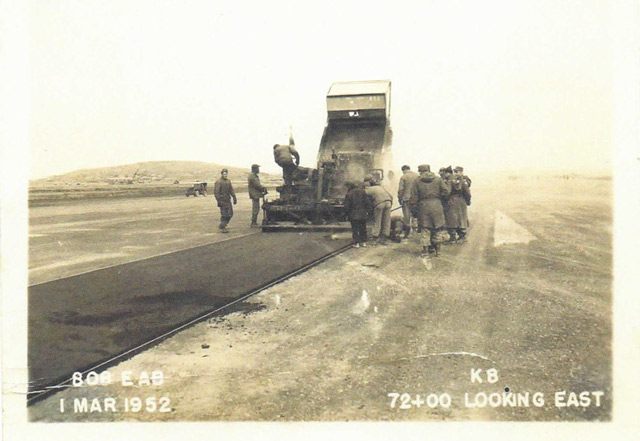 Laying asphalt on a 10,000-foot forward airstrip