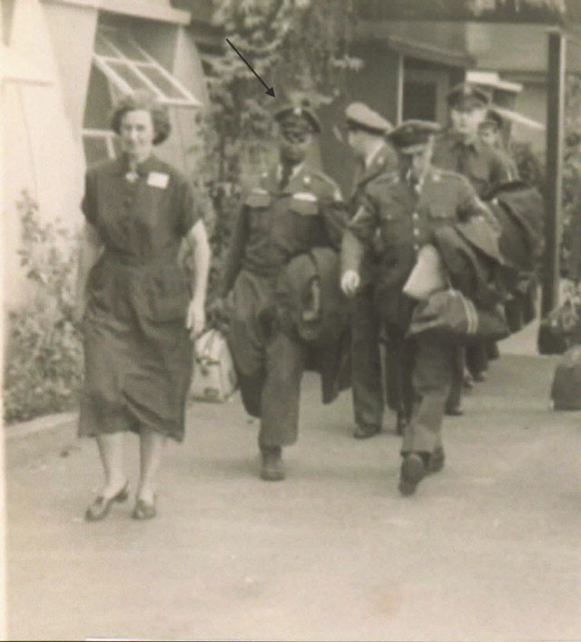 1st Sergeant Mack (front and center) arriving at the Presidio of San Francisco, February, 1953