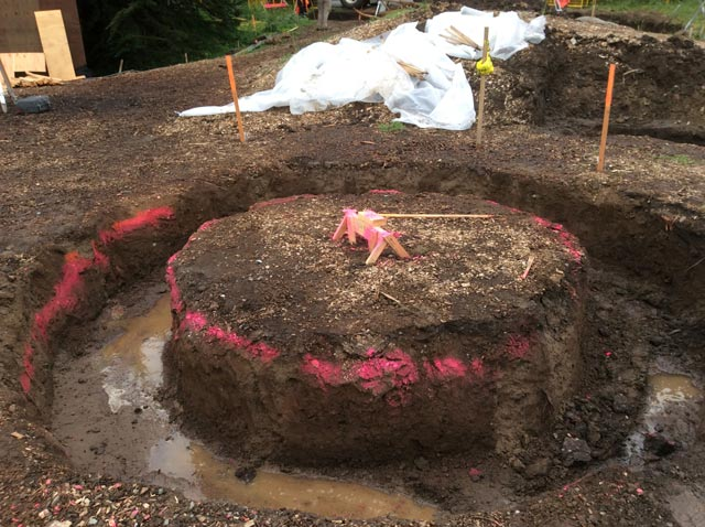 A donut-shaped hole dug for the tree planter and circular bench.