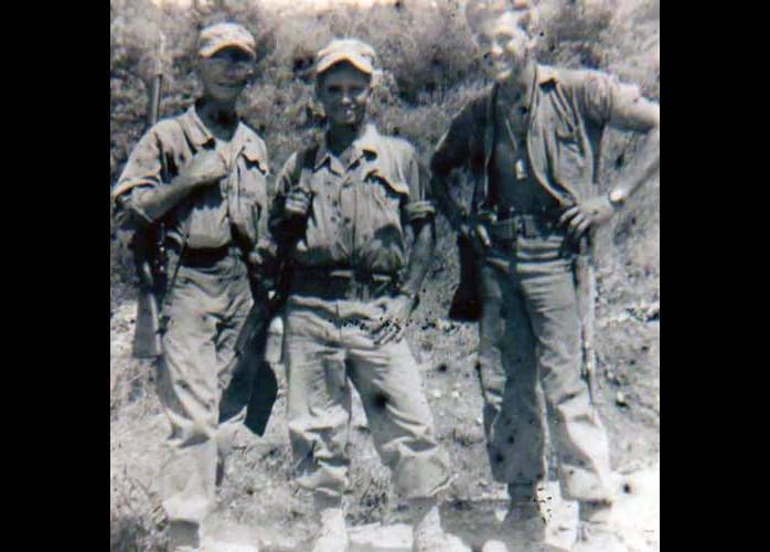 PFC Arnold, PFC Baez, and Staff Sergeant Camp, USMC, July 1952, Korea