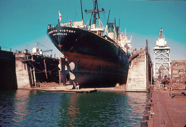 color photo of ship in port