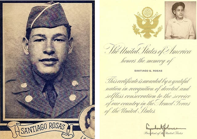 portrait of Corporal Rosas with letter from LBJ
