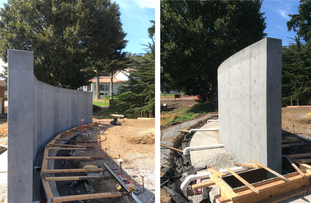side by side photographs of wall front and back