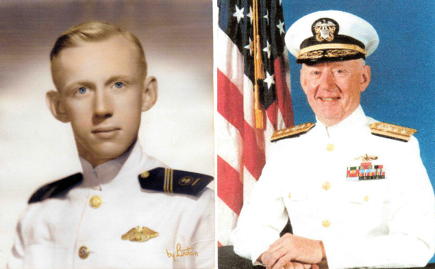 side by side portraits of young Midshipman Gorman and Rear Admiral Gorman